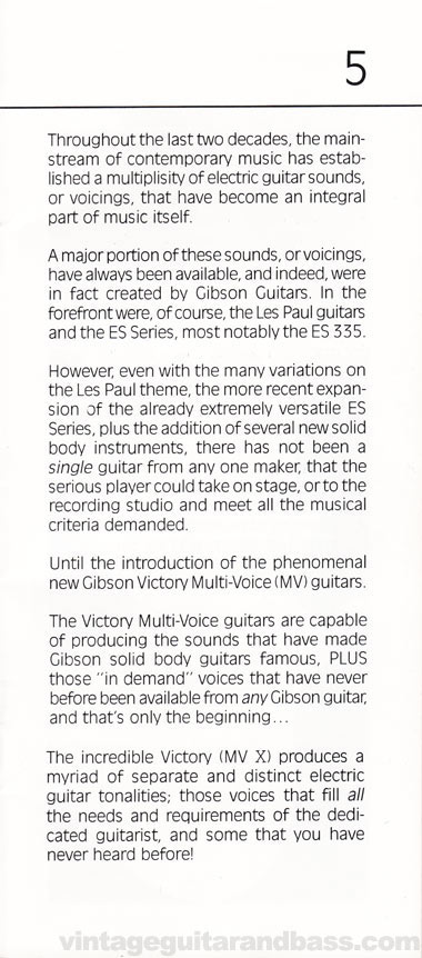 1981 Gibson Victory MV Owners Manual page 5