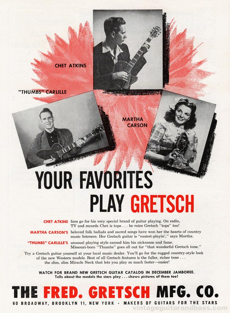 Gretsch advertisement (1955) Your Favorites Play Gretsch