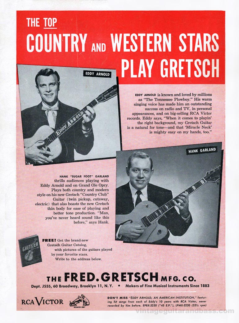 Gretsch advertisement (1955) The Top Country and Western Stars Play Gretsch