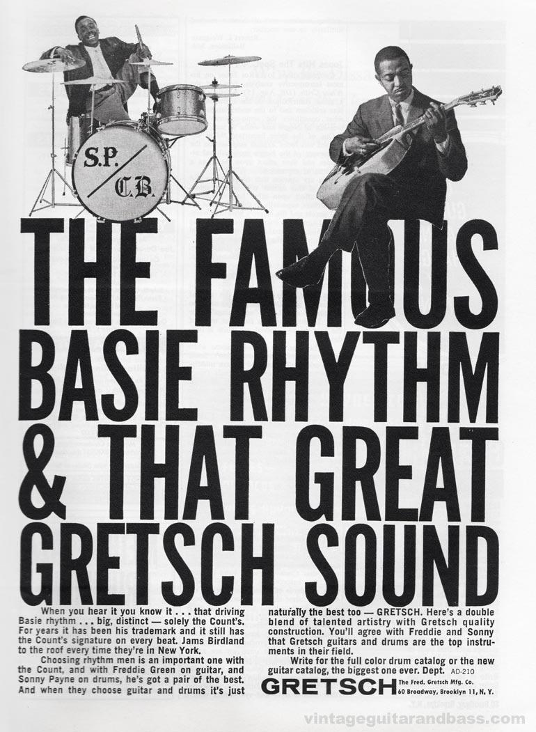 Gretsch advertisement (1963) The Famous Basie Rhythm & that Great Gretsch Sound