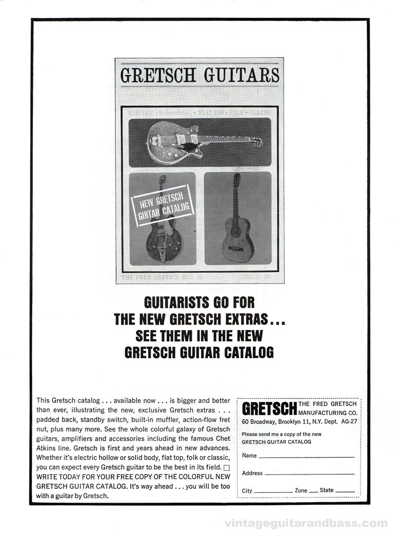 Gretsch advertisement (1963) Guitarists go for the new Gretsch extras... See them in the new Gretsch guitar catalog