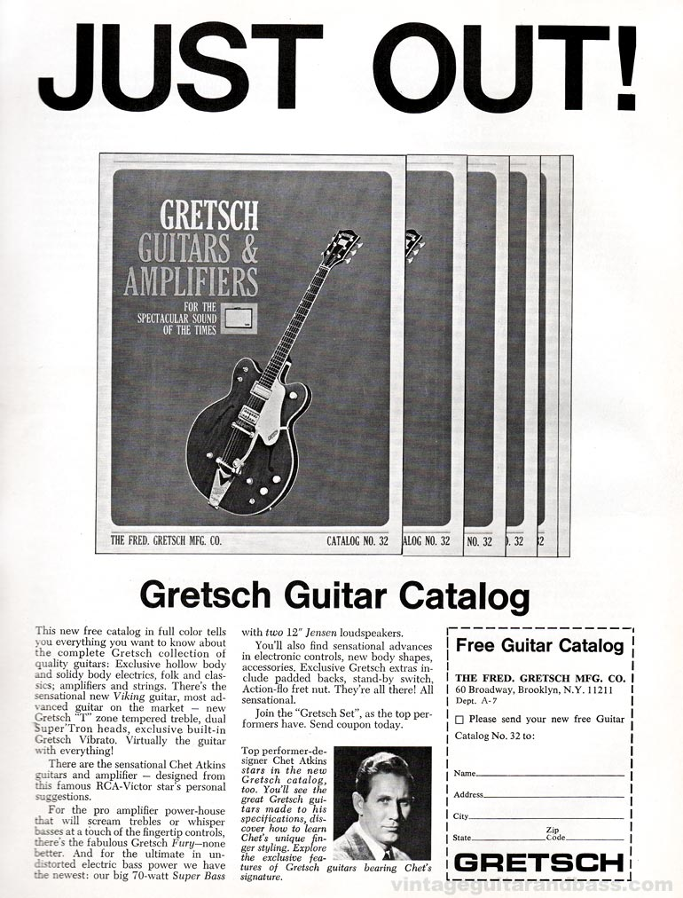Gretsch advertisement (1965) Just Out! Gretsch Guitar Catalog