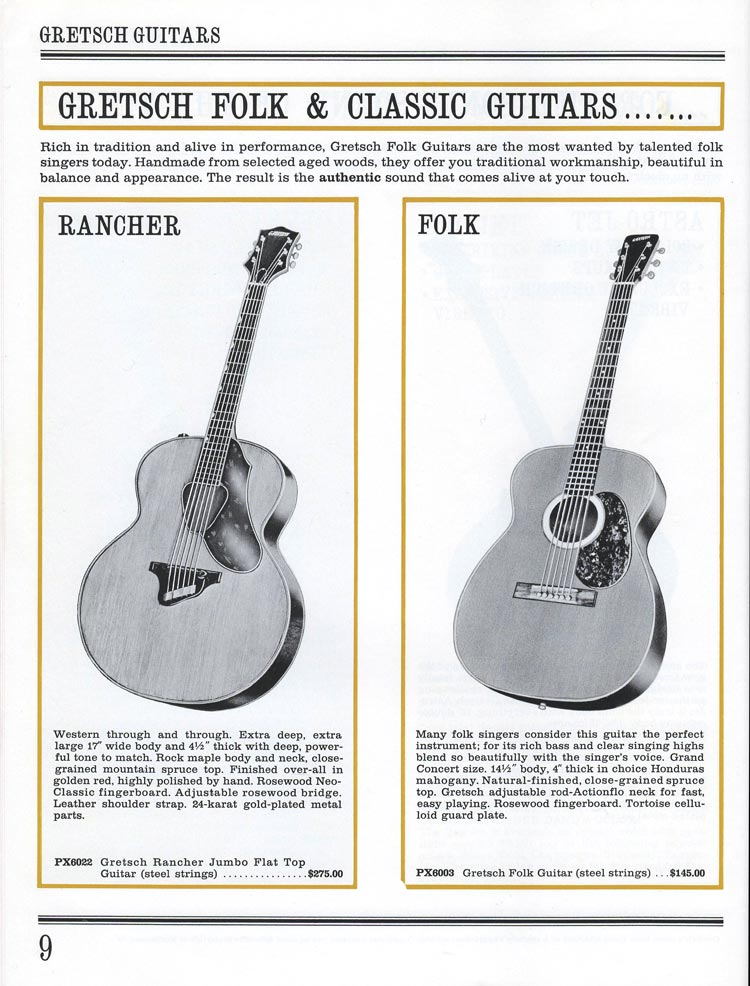 1965 Gretsch guitar catalog page 9 - details of the Gretsch PX6022 Rancher and PX6003 Folk flat tops
