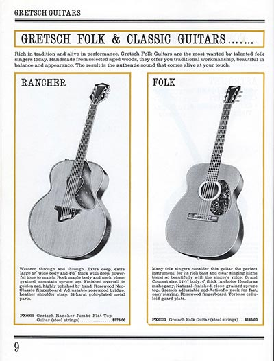 1965 Gretsch guitar catalog page 9
