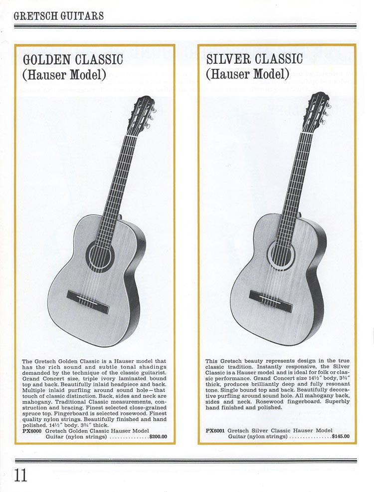 1965 Gretsch guitar catalog page 11 - Golden Classic PX6000 and Silver Classic PX6001 classical guitars