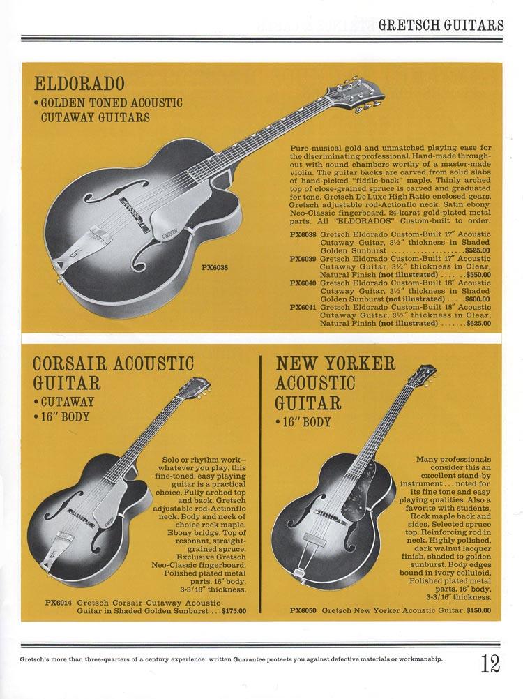 1965 Gretsch guitar catalog page 12 - Gretsch Eldorado, Corsair and New Yorker