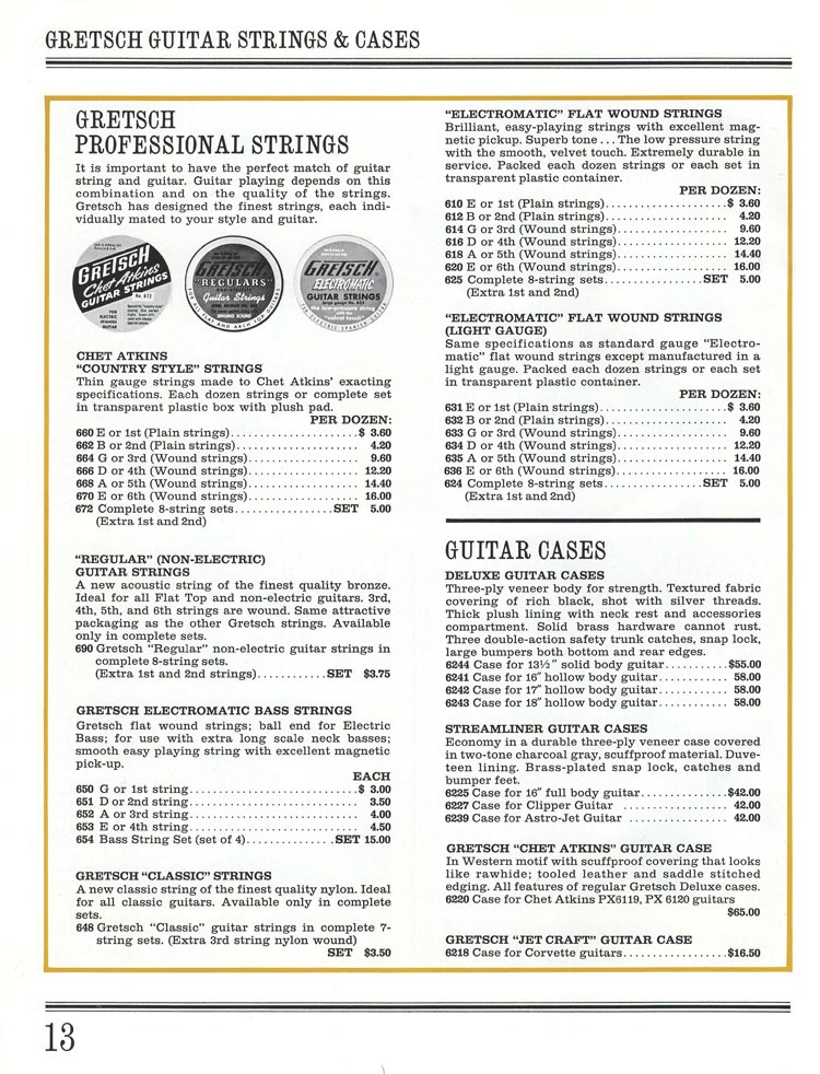 1965 Gretsch guitar catalog page 13 - Gretsch guitar strings and cases
