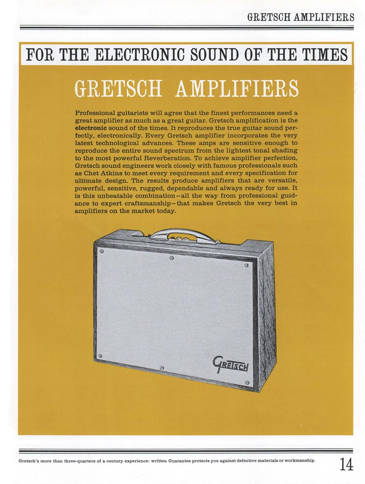 1965 Gretsch guitar catalog page 14 - Gretsch amplifiers
