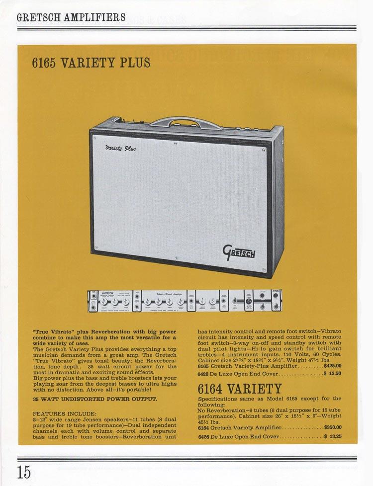 1965 Gretsch guitar catalog page 15 - Gretsch 6165 Variety Plus guitar amplifier