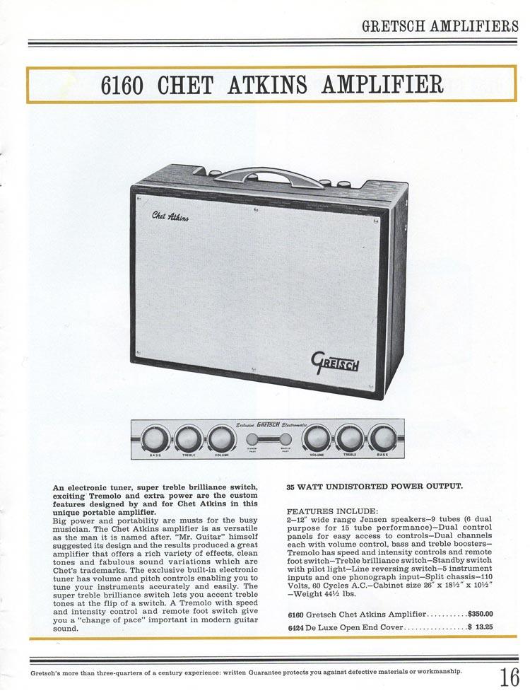 1965 Gretsch guitar catalog page 16 - Gretsch Chet Atkins 6160 amplifier