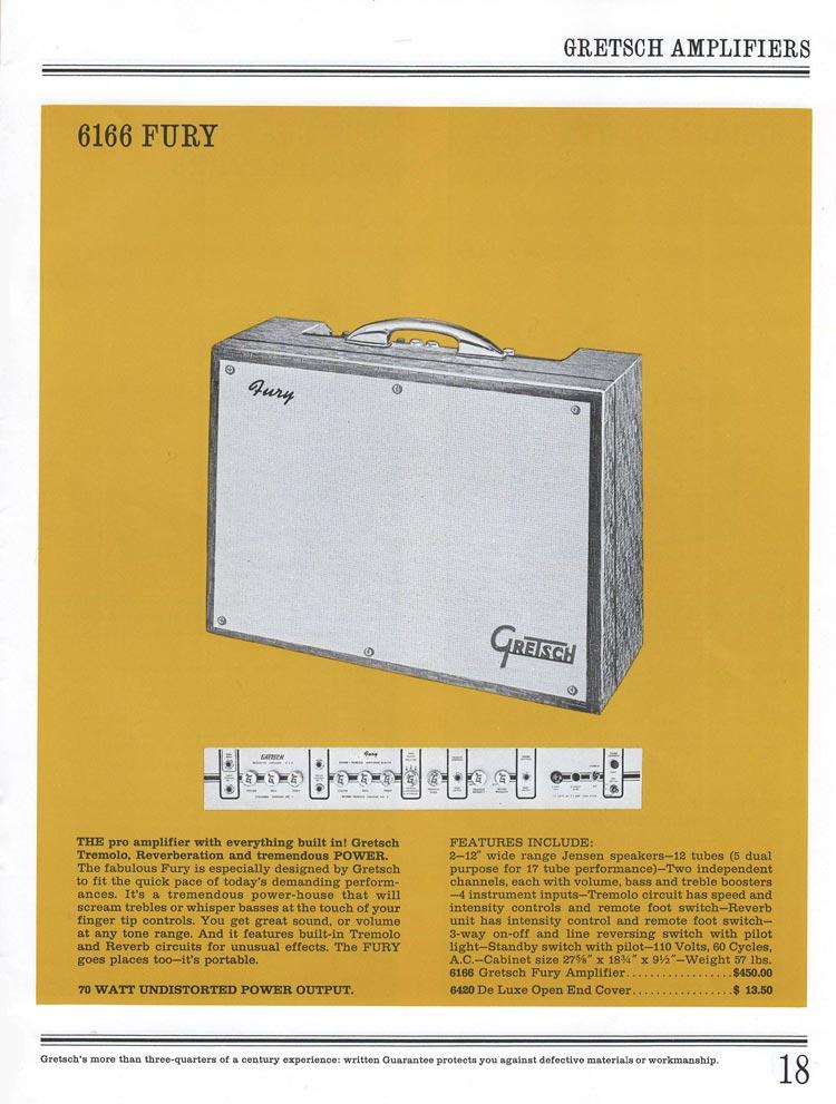 1965 Gretsch guitar catalog page 18 - Gretsch 6166 Fury guitar amplifier