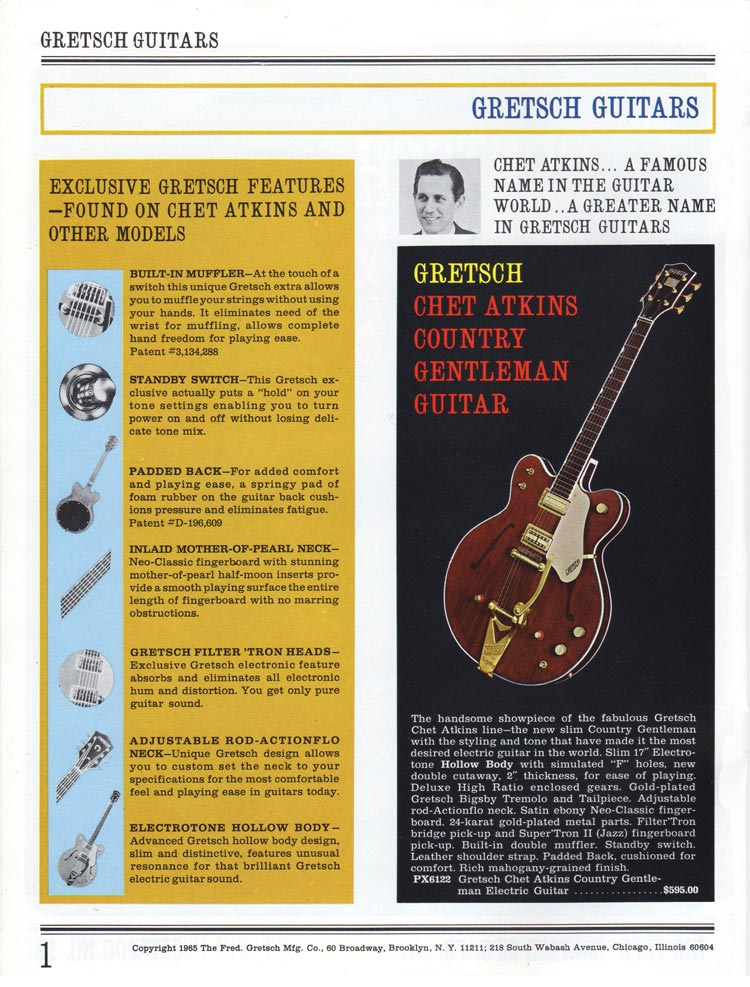 1965 Gretsch guitar catalog page 1 - Gretsch Country Gentleman