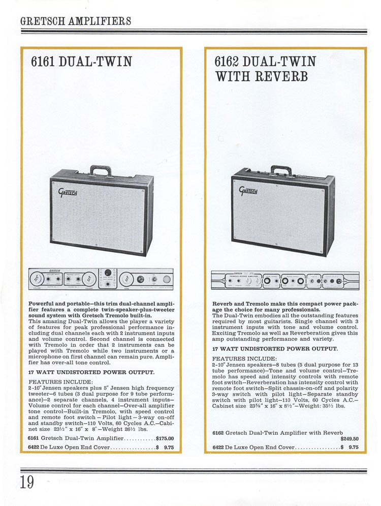 1965 Gretsch guitar catalog page 19 - Gretsch 6161 Dual-Twin and 6162 Dual-Twin Reverb tube amplifiers