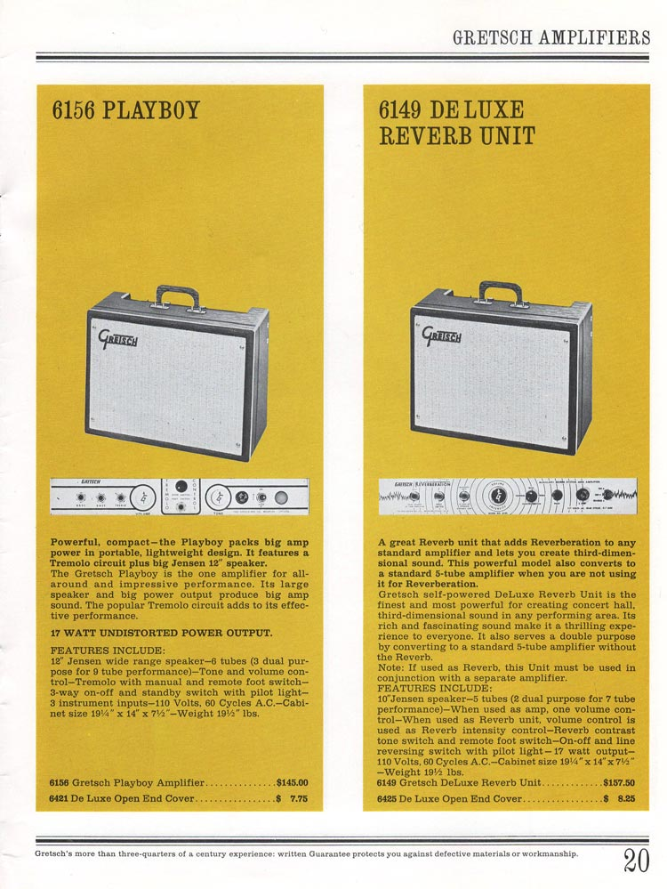 1965 Gretsch guitar catalog page 20 - Gretsch 6156 Playboy amplifier and 6149 Deluxe Reverb unit