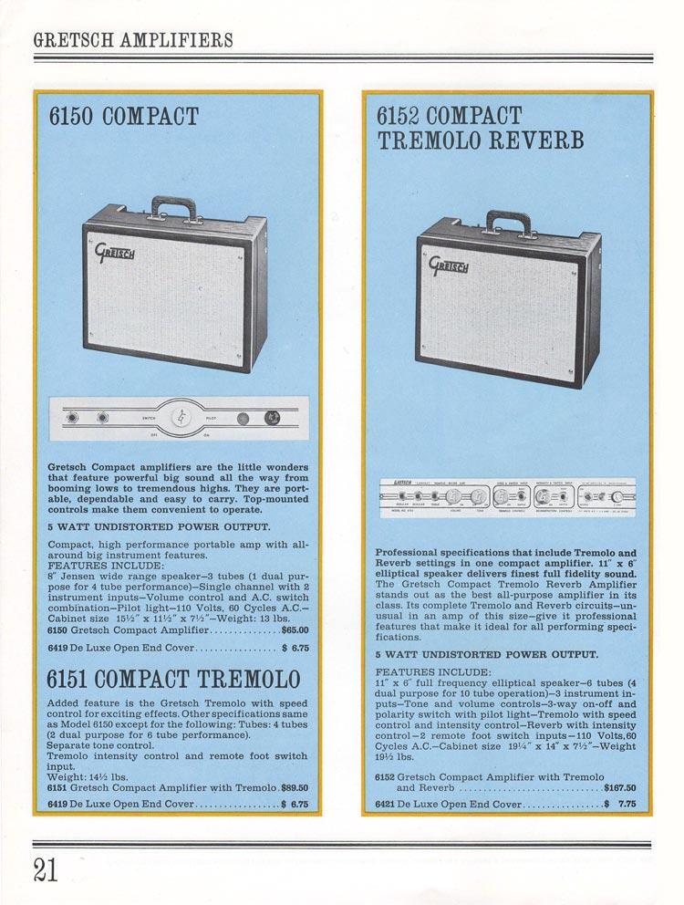 1965 Gretsch guitar catalog page 21 - Gretsch 6150 Compact, 6151 Compact Tremolo and 6152 Compact Tremolo Reverb amplifiers