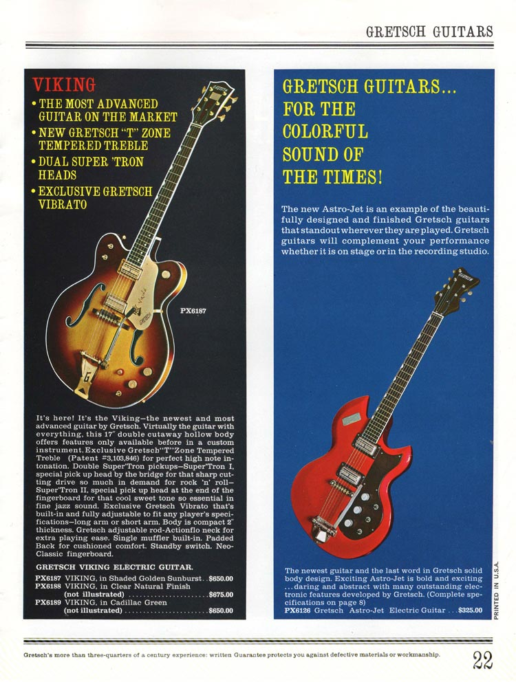 1965 Gretsch guitar catalog page 22 - Gretsch 6167 Viking and 6126 Astro Jet guitars