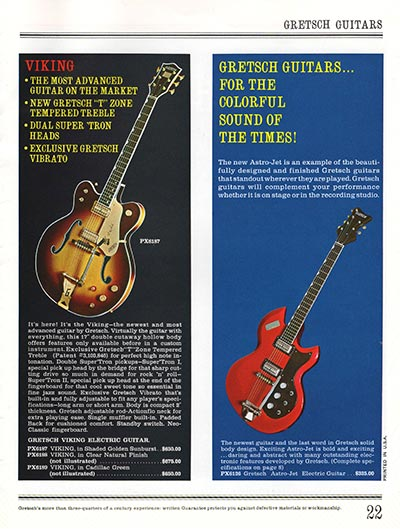 1965 Gretsch guitar catalog page 22