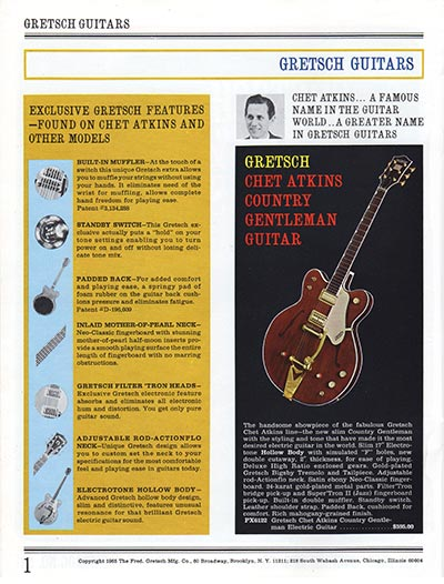 1965 Gretsch guitar catalog page 1
