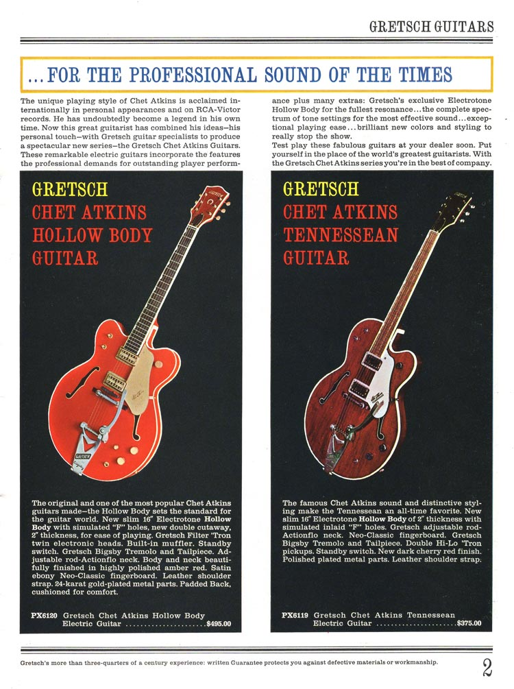 1965 Gretsch guitar catalog page 2 - Gretsch Chet Atkins Hollow Body and Chet Atkins Tennessean