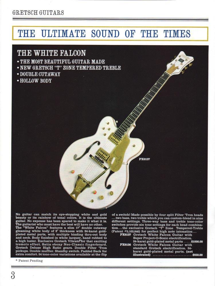 1965 Gretsch guitar catalog page 3 - Gretsch White Falcon