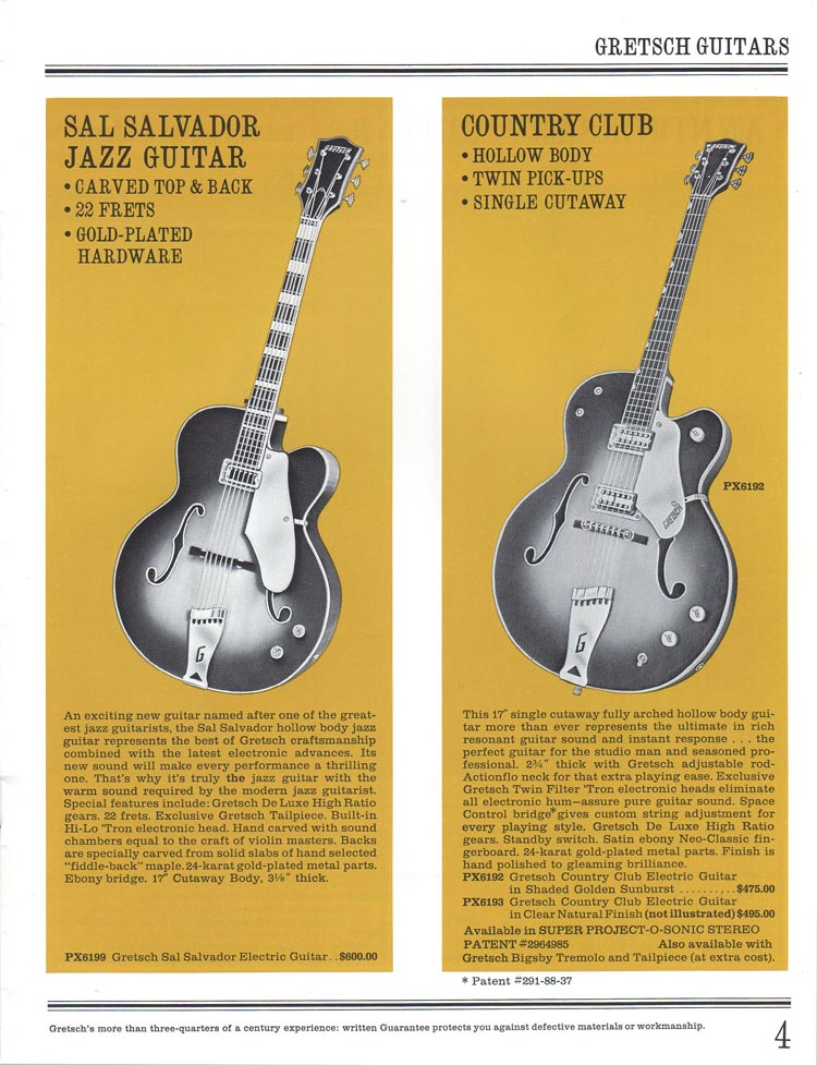 1965 Gretsch guitar catalog page 4 - details of the Gretsch Sal Salvador and Country Club