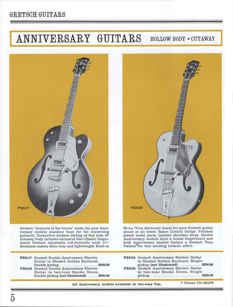1965 Gretsch guitar catalog page 5 - details of the Gretsch Anniversary guitars
