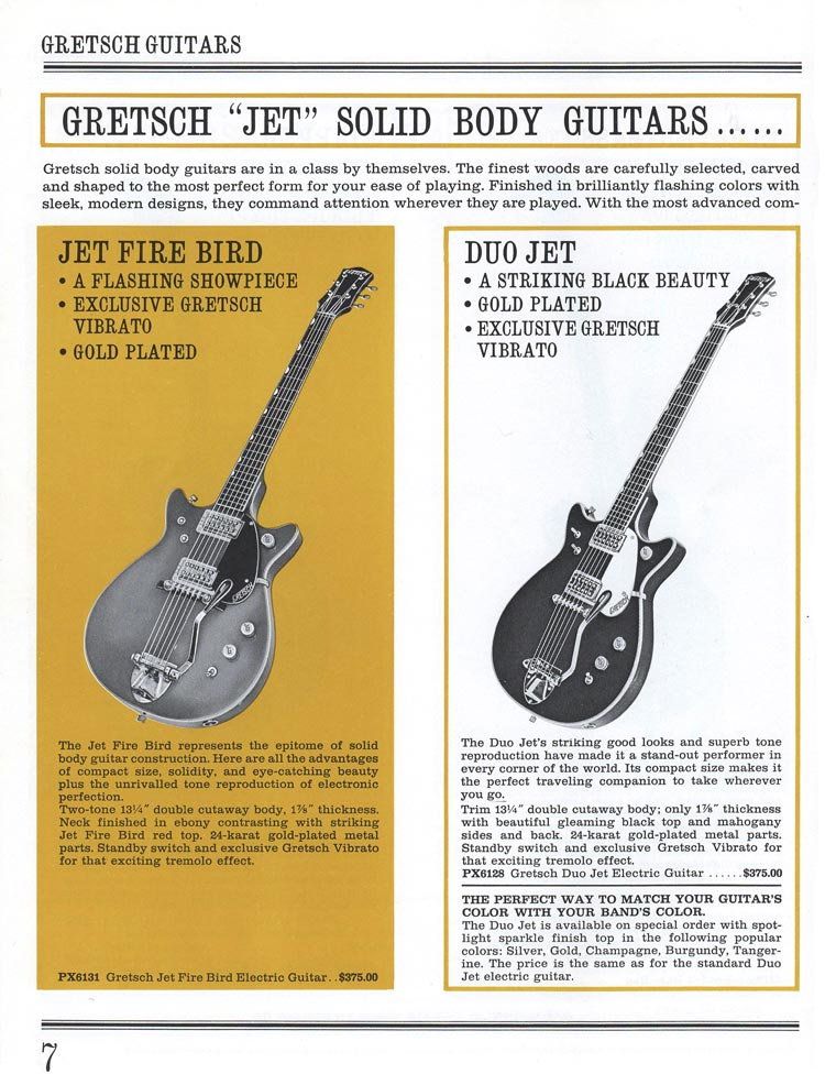 1965 Gretsch guitar catalog page 7 - details of the Gretsch Jet Fire Bird and Duo Jet solid body guitars