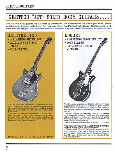 1965 Gretsch guitar catalog page 7
