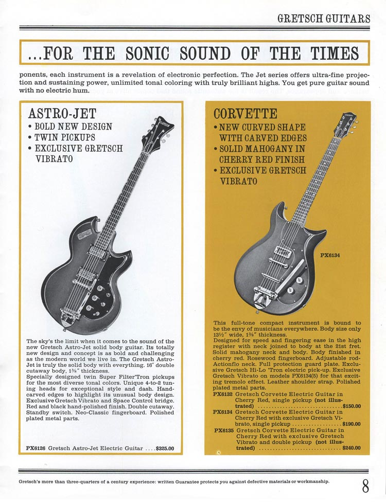 1965 Gretsch guitar catalog page 8 - details of the Gretsch Astro Jet and Corvette solid body electric guitars