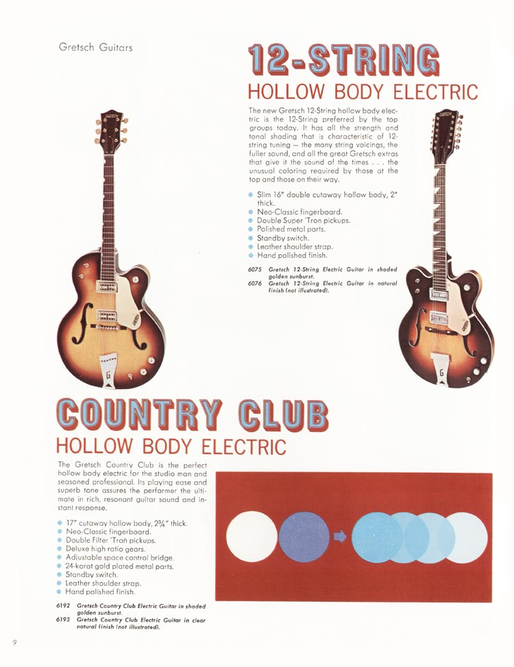 1968 Gretsch guitars and amplifiers catalogue page 10 - Country Club, and 12-string hollow body