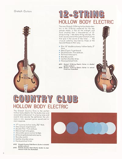 1968 Gretsch electric guitars and amplifiers catalogue page 10