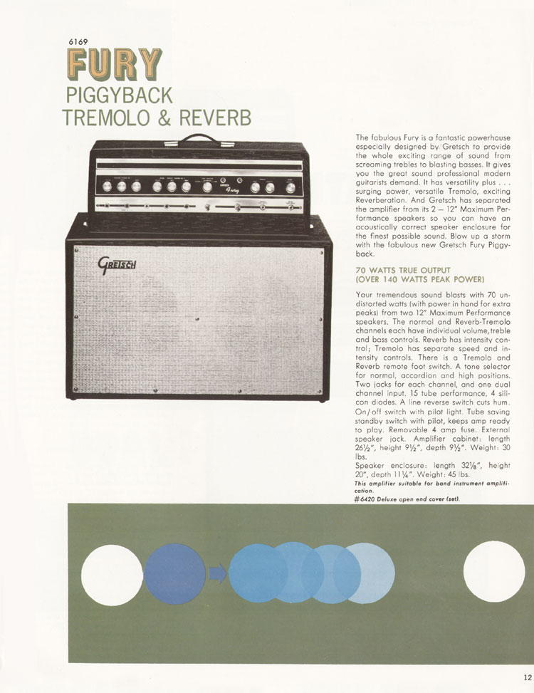 1968 Gretsch guitar catalog page 12 - Gretsch 6169 Fury piggyback tremolo & reverb amplifier