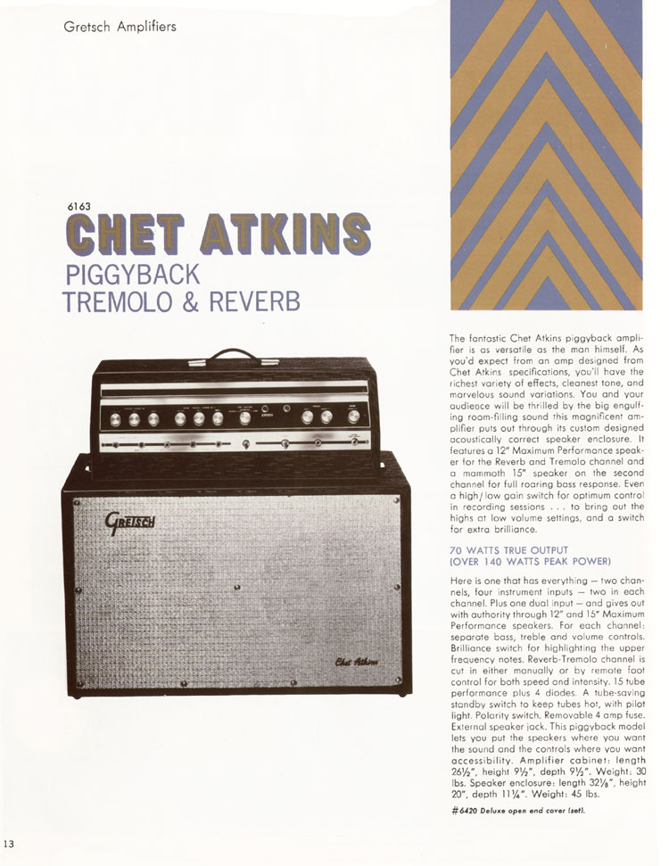 1968 Gretsch guitar catalog page 13 - Gretsch 6163 Chet Atkins piggyback tremolo & reverb amplifier