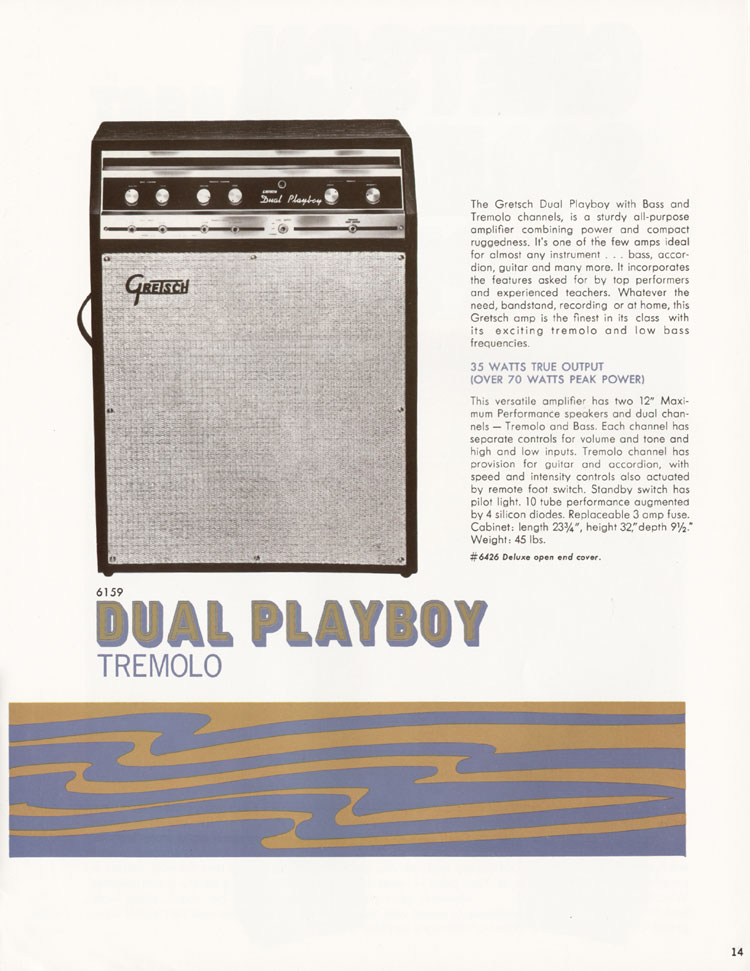 1968 Gretsch guitars and amplifiers catalogue page 15 - 6159 Dual Playboy tremolo