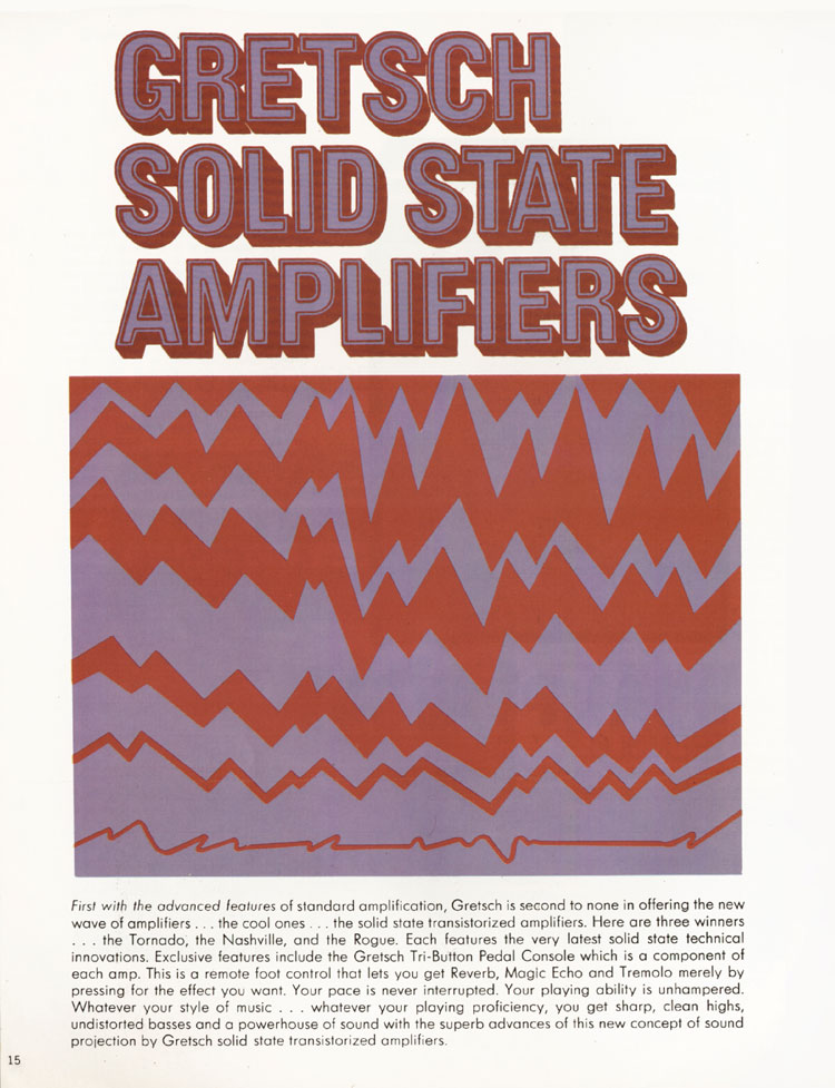 1968 Gretsch guitars and amplifiers catalogue page 16