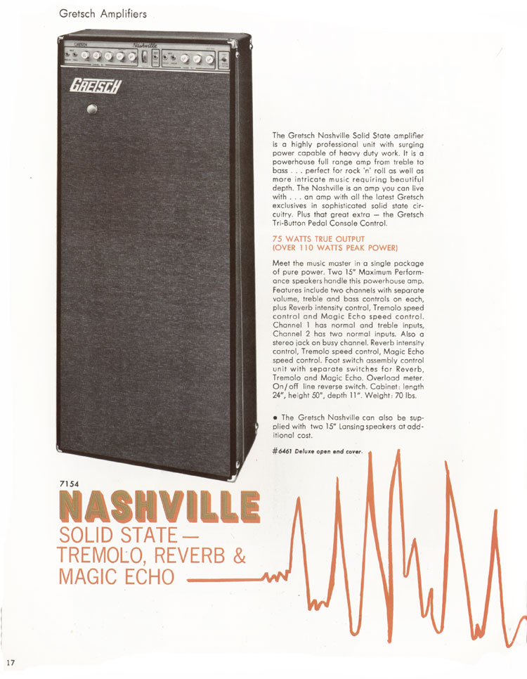 1968 Gretsch guitars and amplifiers catalogue page 18  -  Nashvile solid state amplifier