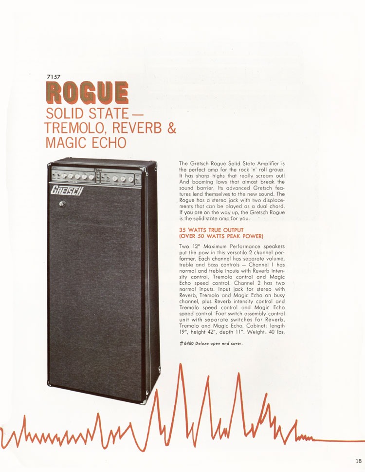 1968 Gretsch guitars and amplifiers catalogue page 19 - 7157 Rogue solid state amplifier
