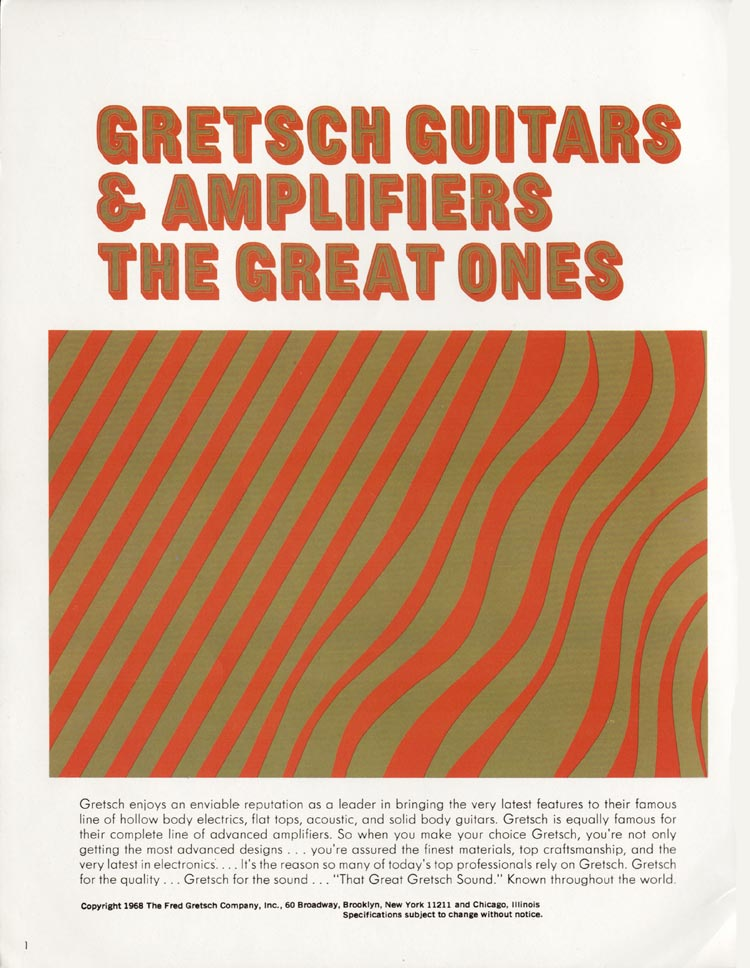 1968 Gretsch guitars and amplifiers catalogue page 2