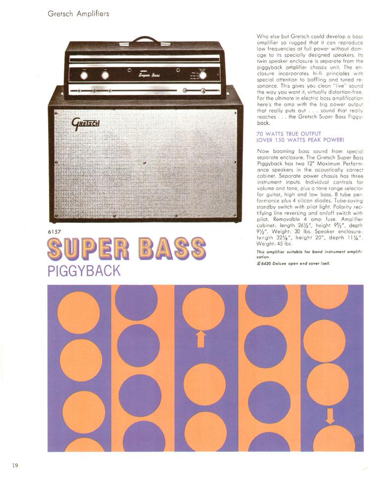 1968 Gretsch guitar catalog page 19 - Gretsch 6157 Super Bass tube amplifier