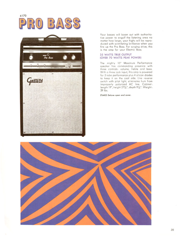1968 Gretsch guitars and amplifiers catalogue page 21 - 6170 Pro Bass amplifier