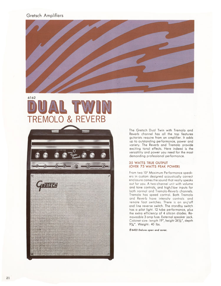 1968 Gretsch guitars and amplifiers catalogue page 22 - 6162 Dual Twin amplifier