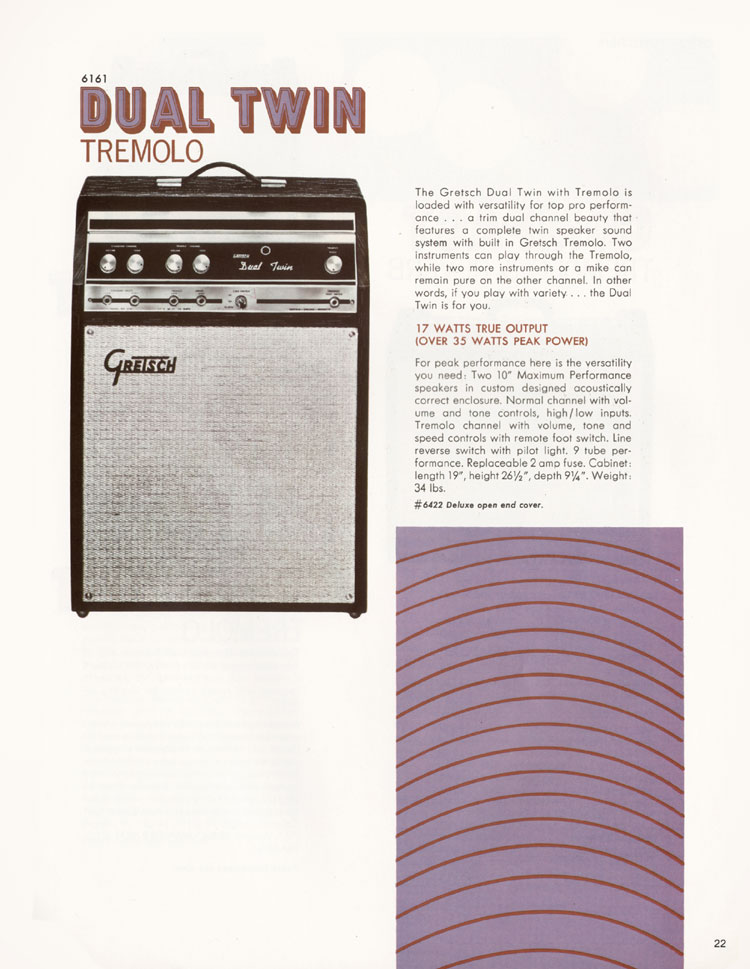 1968 Gretsch guitars and amplifiers catalogue page 23 - 6161 Dual Twin amplifier