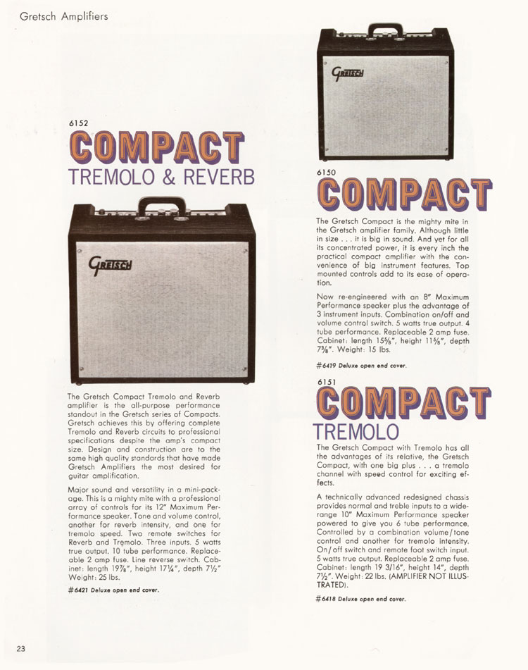 1968 Gretsch guitar catalog page 23 - Gretsch 6161 Dual Twin tube tremolo & reverb amplifier