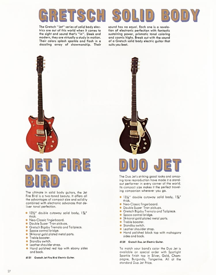 1968 Gretsch guitars and amplifiers catalogue page 28 - 6131 Jet Fire Bird and 6128 Duo Jet guitars