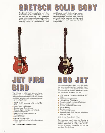 1968 Gretsch electric guitars and amplifiers catalogue page 28