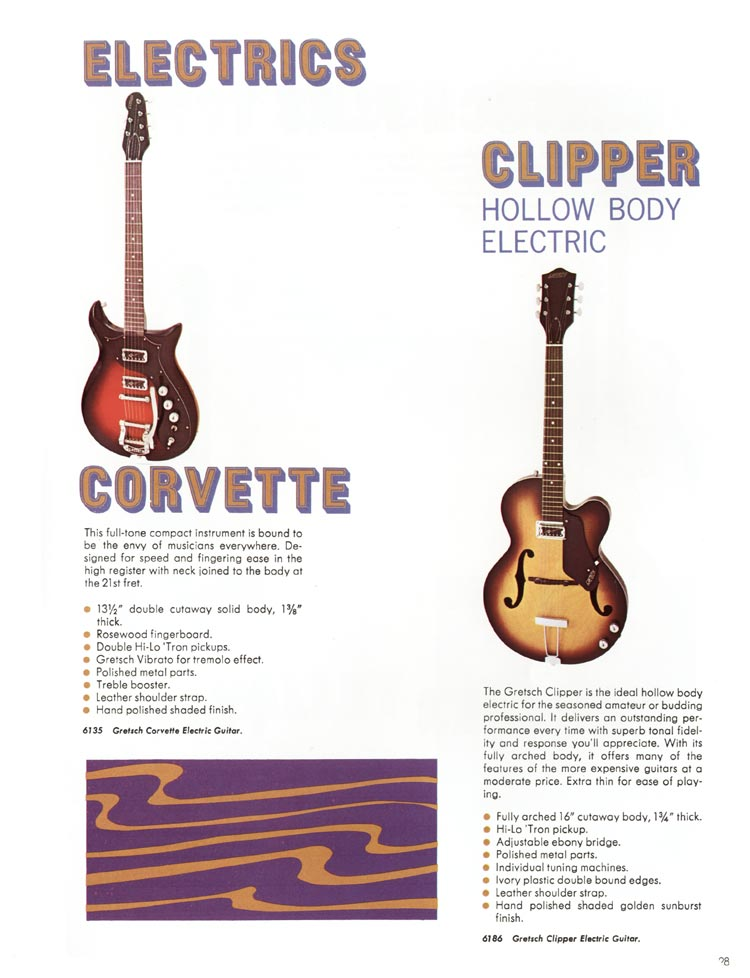 1968 Gretsch guitars and amplifiers catalogue page 29 - 6135 Corvette and 6186 Clipper guitars