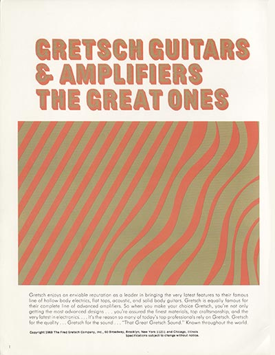 1968 Gretsch guitar catalog page 1