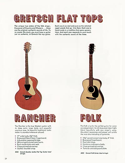 1968 Gretsch electric guitars and amplifiers catalogue page 30