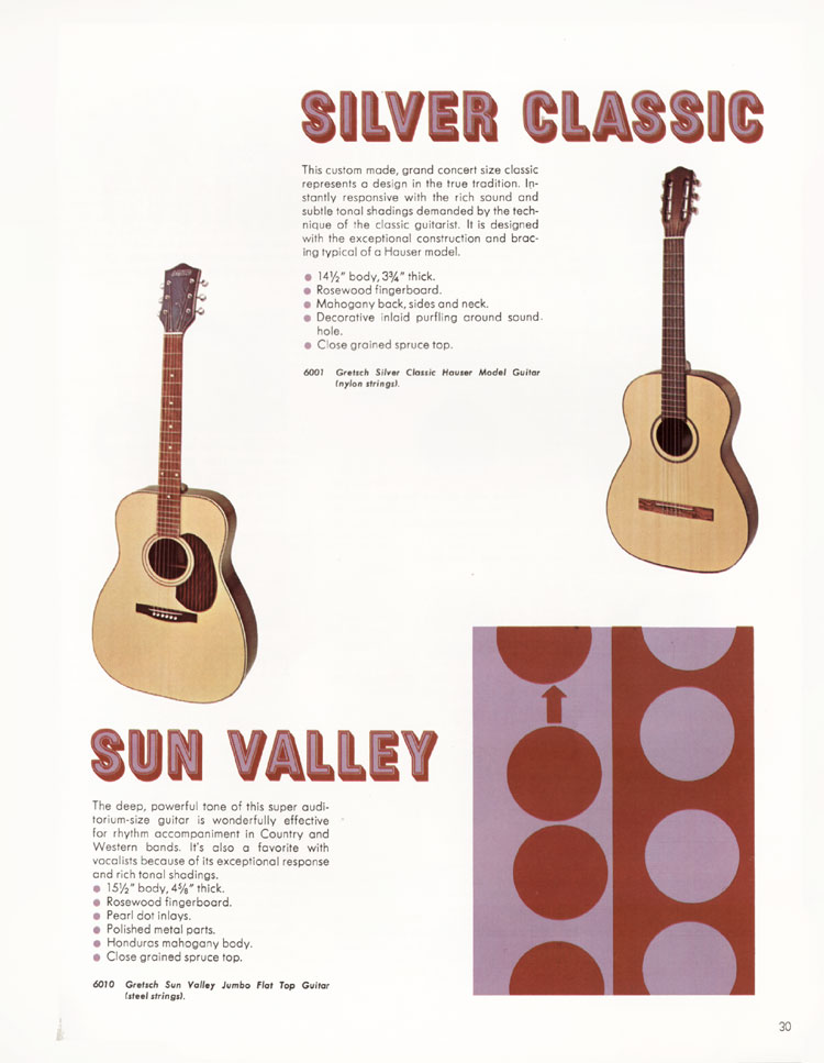 1968 Gretsch guitar catalog page 30 - Gretsch 6001 Silver Classic and 6010 Sun Valley flat tops