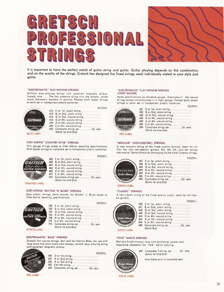 1968 Gretsch guitar catalog page 32 - Gretsch strings